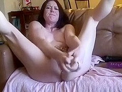 Whorish brunette hair hair doxy fists her wet crack with mannequin hand