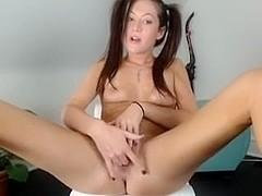 Playful babe jerks off on a webcam
