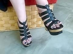 Sexy feet in Strappy Wooden Wedge Platform Heels