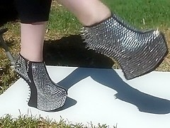 Extreme Wedge Silver Spiked Ankle Boots