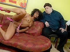Misty Stone in Ebony Goddess Misty Stone Rubs Her Juicy Wet Pussy