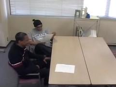 Two big black guys ravished one tiny Japanese floozy