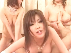 Crazy Japanese chick Chichi Asada, Rio Hamasaki, Megu Ayase in Best Gangbang, Group Sex JAV scene