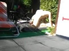 Mature couple makes a sextape in their garden