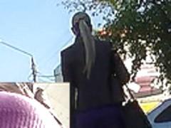 Skin-taut violet costume up petticoat