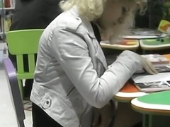 Naughty blonde chick in upskirt stockings video