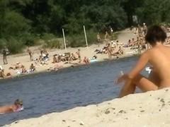 Nude beach voyeur with mature babes