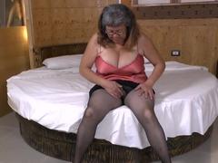 Latin BBW Granny plays with big vibrator