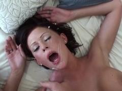 Busty girlfriend fucking and taking facial cumshot
