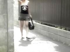 Extra slim Asian babe gets boob sharking on the street.
