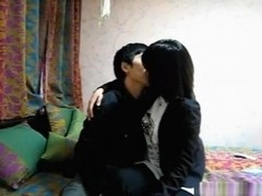 Chinese couple bedroom blowjob