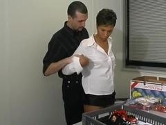 Ebony French secretary fucking around with her boss