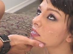 Brunette get her mouth full of cum after hot sex