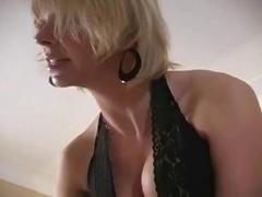 Golden-Haired wearing leather gloves milks bondman for cum