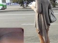 Beautiful upskirt playgirl on a bus stop