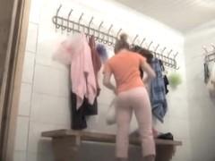 Dressing room cute bimbo flashing the naked skin