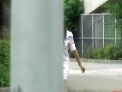Hot Asian nurse gets a good street sharking outdoors.