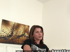 Brunette banged from behind in casting