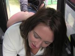Brunette hottie deep throats in a cab in public