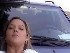 German outdoor sex on the car