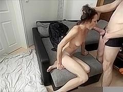 Tiny Brunette had to suck & fuck