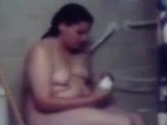 My chubby girlfriend masturbating with head shower