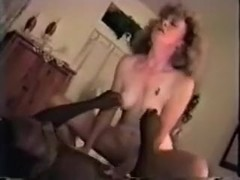 Retro blonde woman moans crazily while riding my buddy's BBC