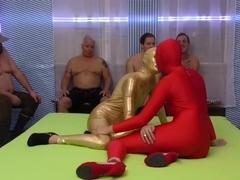 skintight spandex gangbang orgy