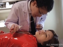 Hot Asian milf Saki Okuda in red leather is fucked hard