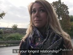 Unfaithful blonde banging huge cock in public