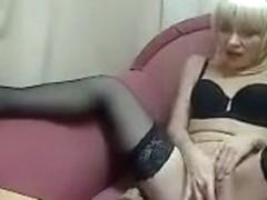 Russian blonde Sharlotta fucks herself