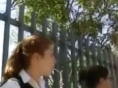 Lovely schoolgirl upskirt on her teen ass