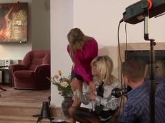 Best pornstars Klarisa Leone and Cynthia Vellons in horny lingerie, facial porn clip