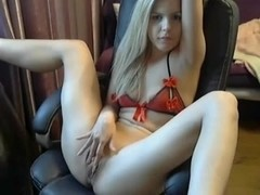 Horny Blonde girl GF loves cumming on cam