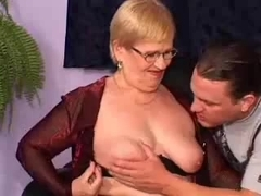 Granny Receives Double Permeated With Facial