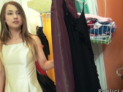 Busty Euro amateur banged in changing room