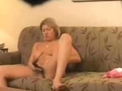 My mom home alone masturbating in living room