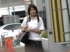 Public sharking video of stunning oriental cutie in the streets
