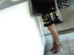 Hot upskirt milf brunette voyeur video