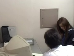 Naughty Japanese teen gave a blowjob to a police inspector