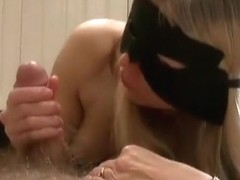 So sexy masked milf blonde wife make a hell of a handjob until cumshot,damn