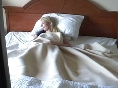 Hidden bedroom blonde masturbating