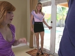 Cory Chase and Sadie Kennedy making a real double blowjob
