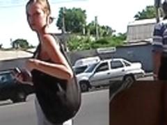 Sporty honey caught by upskirt webcam