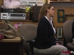 Huge boobs business woman screwed by pervert pawnkeeper