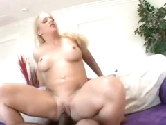 Stunning blonde with a sublime ass and big boobs seizes the chance to fuck a black rod