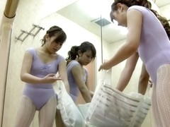 Asian ballet dancer changes and shows nudity on spy cam