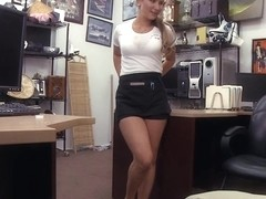 Sexy amateur blonde waitress screwed by horny pawn man