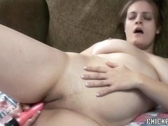 Horny housewife Danni is fucking her pussy with a dildo