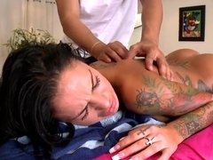 Famous Angelina Valentine gets massaged in close up